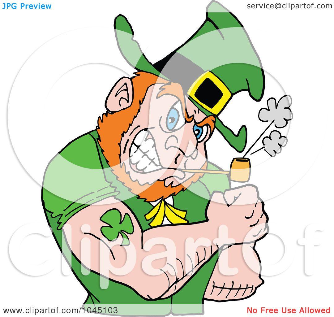 1080x1024 Royalty Free (Rf) Cliprt Illustration Of Leprechaun Smoking