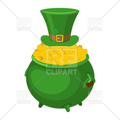 400x400 St. Patrick's Day. Leprechaun Green Hat And Pot Of Gold. Royalty