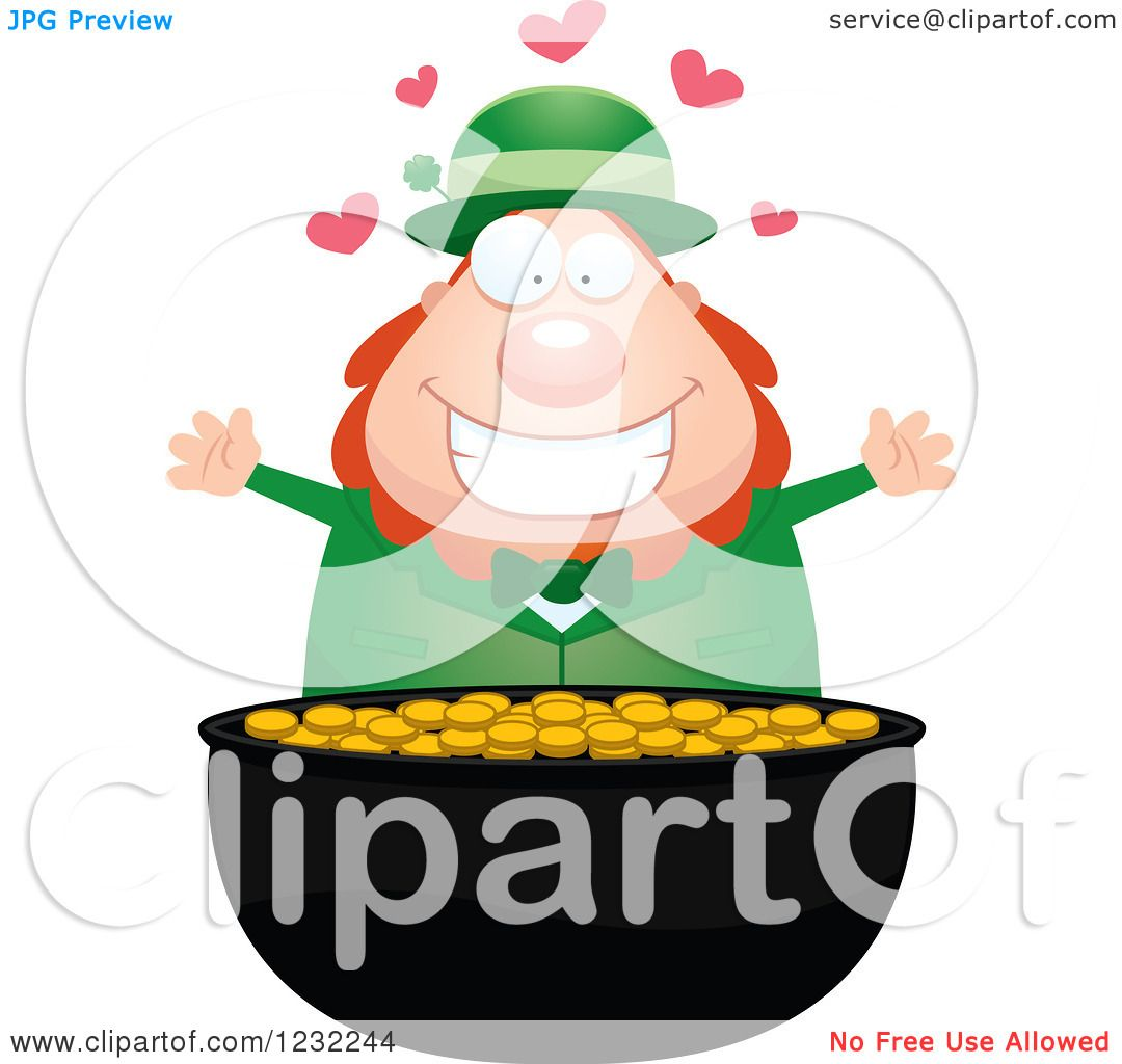 1080x1024 Clipart Of Happy St Patricks Day Leprechaun With Hearts Over