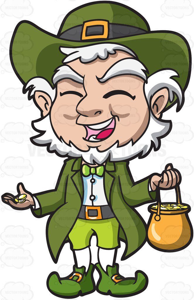 662x1024 A Charming Old Leprechaun With His Pot Of Gold Cartoon Clipart