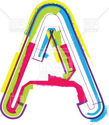 348x400 Colorful Grunge Letter A Royalty Free Vector Clip Art Image