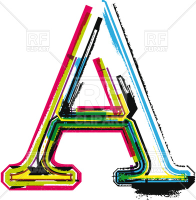 392x400 Colorful Grunge Letter A On White Royalty Free Vector Clip Art