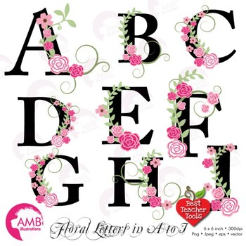 350x350 Floral Alphabet Clipart, Letters A To I, Floral Clipart, Wedding
