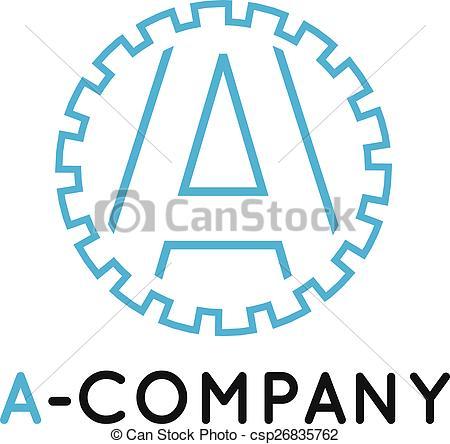 450x444 Vector Minimalistic Outline Blue A Letter Logotype. Cogwheel