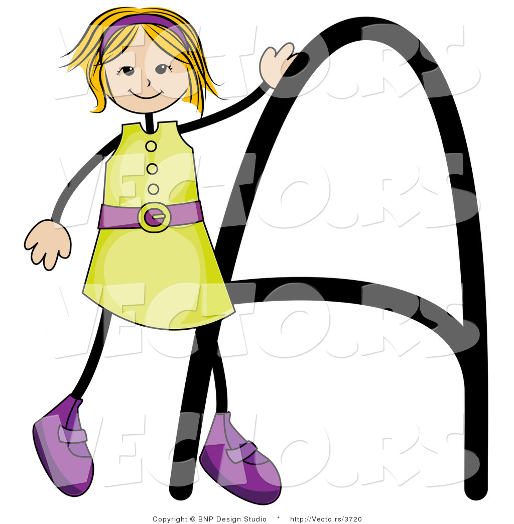 1024x1044 Vector Of An Alphabet Letter A With A Stick Figure Girl By Bnp