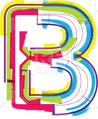 328x400 Colorful Capital Letter B Royalty Free Vector Clip Art Image