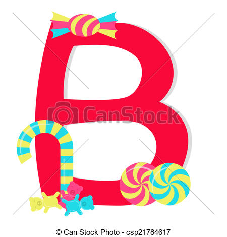 450x470 Letter B From Candy Alphabet. Letter B From Stylized Vector