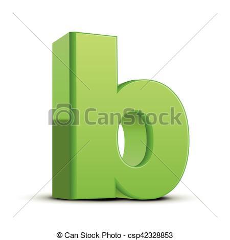 450x470 Lowercase Grass Green Letter B. Left Tilt Light Green Letter