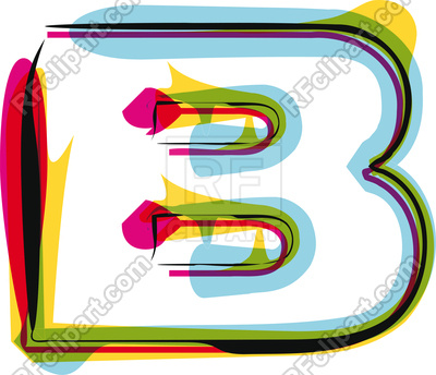 400x344 Abstract Colorful Brushed Letter B Royalty Free Vector Clip Art