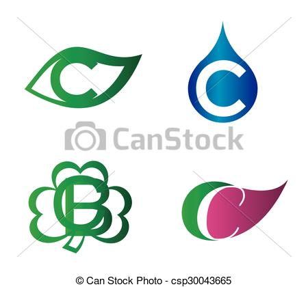 450x420 Letter C Logo Template. Abstract Icon Set Clip Art Vector