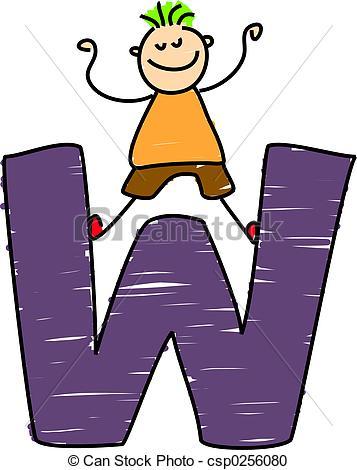 357x470 Clip Art W Letter W Boy Little Boy Standing On Letter W Stock