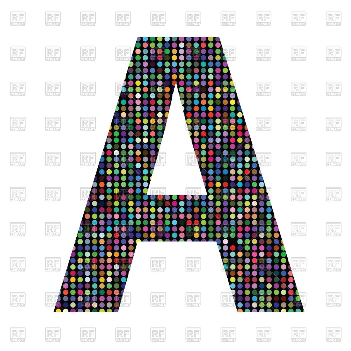 1200x1200 Colorful Mosaic Font Letter A Royalty Free Vector Clip Art Image