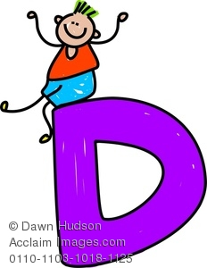 232x300 Clipart Image Of A Happy Little Boy Climbing Over A Giant Letter D
