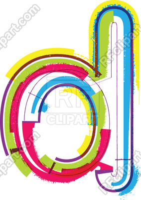 283x400 Colorful Grunge Font Letter D Royalty Free Vector Clip Art Image