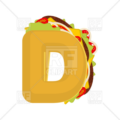 400x400 Letter D Fast Food Font Royalty Free Vector Clip Art Image