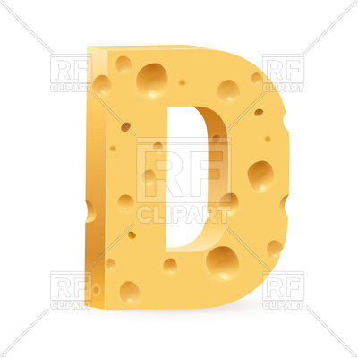 400x400 Cheese Font Letter D Royalty Free Vector Clip Art Image