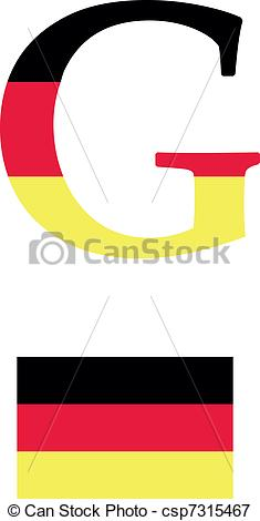235x470 The Letter G In The Form Of The Flag Of Germany Vectors