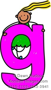 171x300 Clip Art Picture Of A Little Girl Climbing Over A Giant Letter G