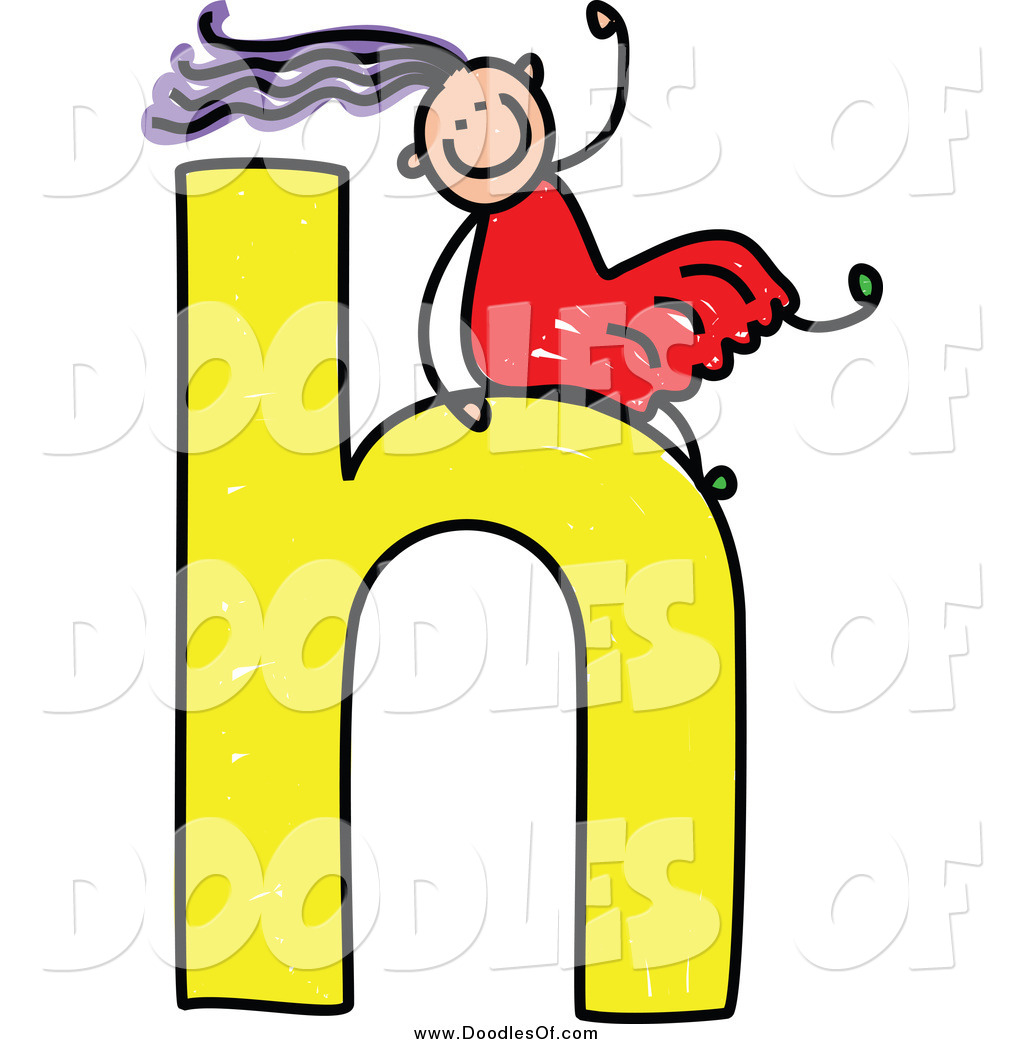 1024x1044 Vector Clipart Of A Doodle Girl Sliding On A Lowercase Letter H By