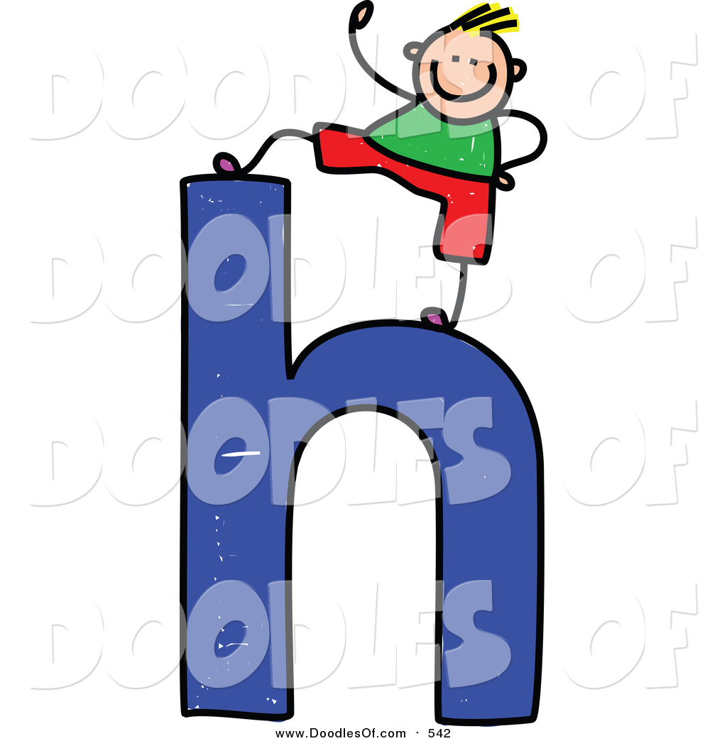 1024x1044 Vector Clipart Of A Doodled Blond White Boy On A Lowercase Letter