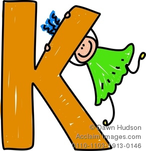 292x300 Clipart Image Of A Happy Little Girl Climbing Over A Giant Letter K