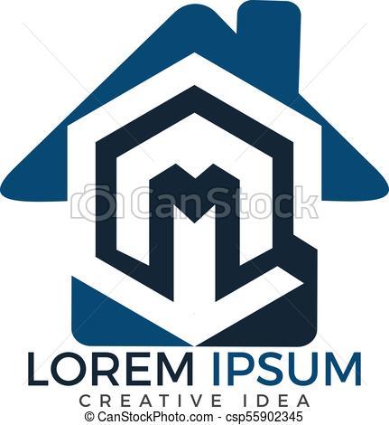431x470 Home Letter M Logo Design. Initial Letter M Vector Logo Eps