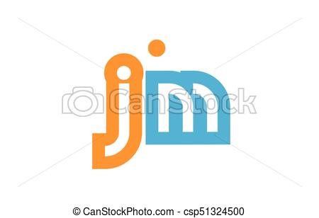 450x308 Jm J M Orange Blue Alphabet Letter Logo Combination . Vector
