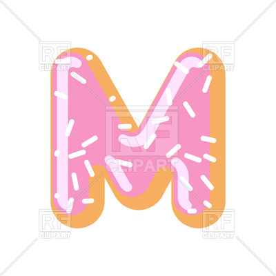 400x400 Letter M Donut Font Royalty Free Vector Clip Art Image