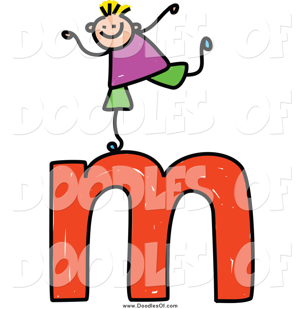 1024x1044 Vector Clipart Of A Doodled Boy On A Lowercase Letter M By Prawny
