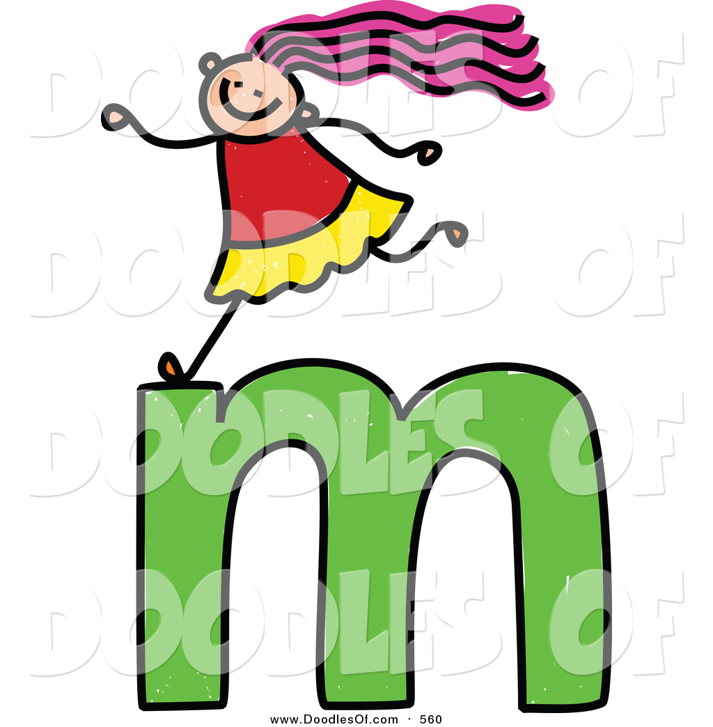 1024x1044 Vector Clipart Of A Doodled Happy White Girl On A Lowercase Letter