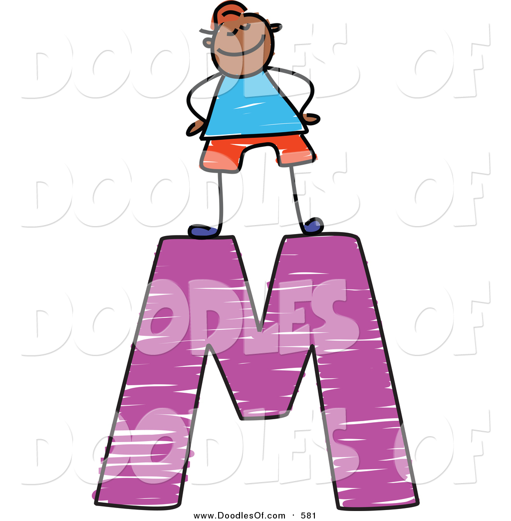 1024x1044 Vector Clipart Of A Doodled Proud Black Boy On A Capital Letter M