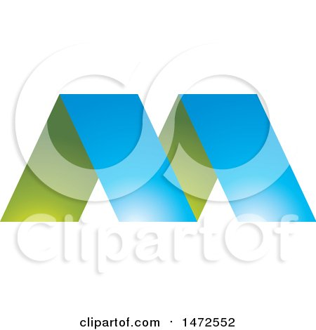 450x470 Clipart Of A Green And Blue Letter M Design