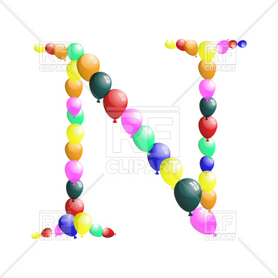 400x400 Color Balloon Letter N Royalty Free Vector Clip Art Image