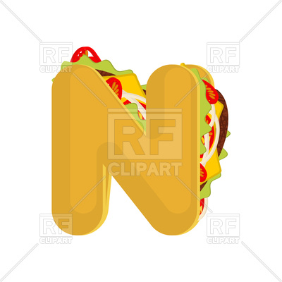 400x400 Letter N Fast Food Font Royalty Free Vector Clip Art Image