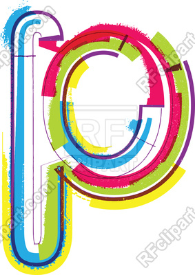 283x400 Colorful Grunge Font Letter P Royalty Free Vector Clip Art Image