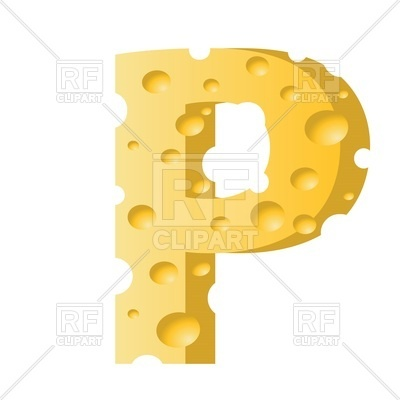 400x400 Font Made Of Cheese, Letter P Royalty Free Vector Clip Art Image