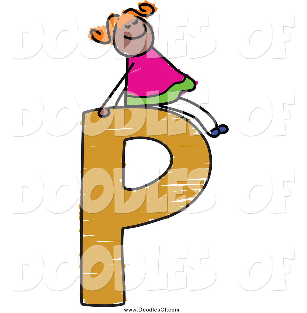 1024x1044 Vector Clipart Of A Doodle Girl On A Capital Letter P By Prawny