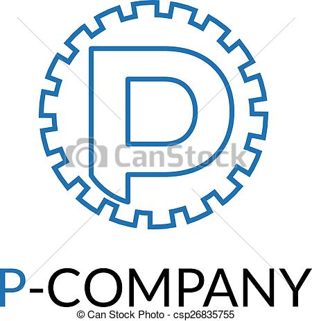 450x462 Vector Minimalistic Blue P Letter Cog Logotype. Vector Clipart