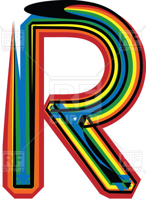 295x400 Colorful Grunge Font Letter R On White Background Royalty Free