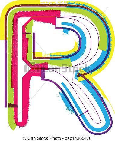 381x470 Colorful Grunge Letter R Vectors Illustration