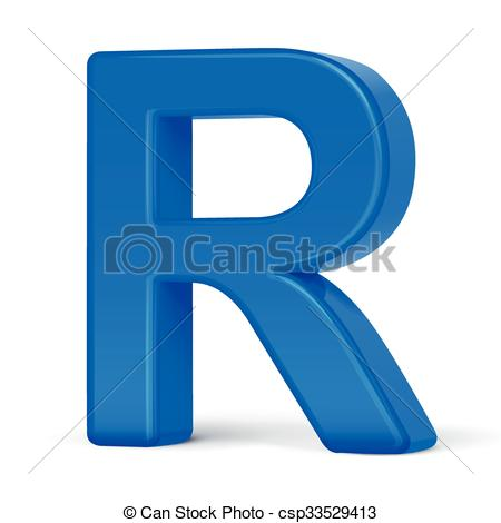 450x470 3d Plastic Blue Letter R Isolated On White Background Vector Clip