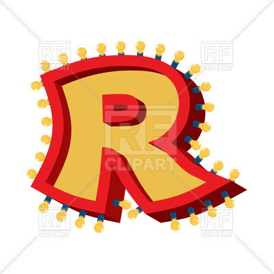 400x400 Letter R Lamp Glowing Font Royalty Free Vector Clip Art Image