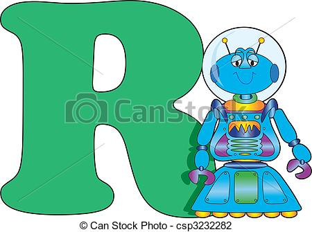 450x335 Letter R With A Robot Clip Art