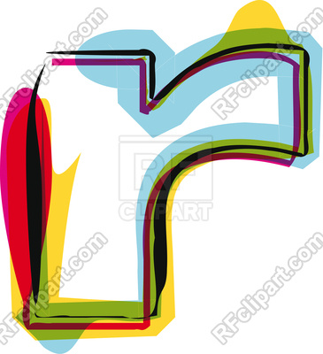 365x400 Abstract Colorful Letter R Royalty Free Vector Clip Art Image