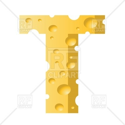 400x400 Font Made Of Cheese, Letter T Royalty Free Vector Clip Art Image