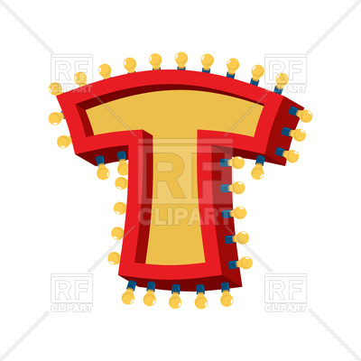 400x400 Letter T Lamp Glowing Font Royalty Free Vector Clip Art Image