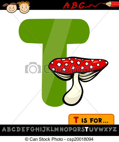 395x470 Letter T With Toadstool Cartoon Illustration. Cartoon Eps