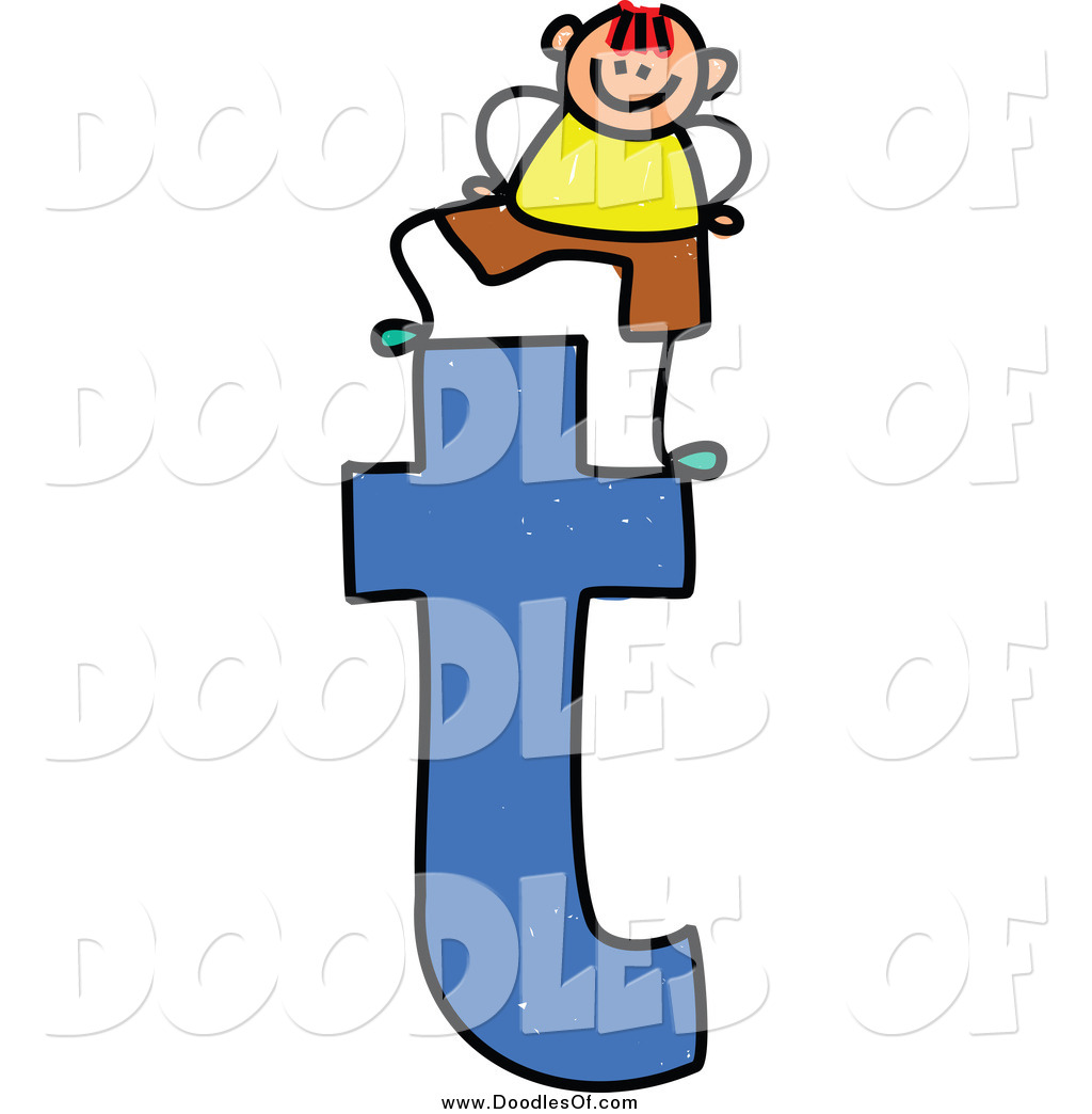 1024x1044 Vector Clipart Of A Doodled Boy On A Lowercase Letter T By Prawny