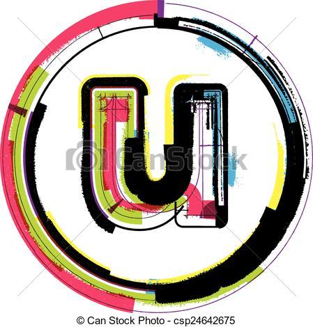 449x470 Colorful Grunge Font Letter U Vectors Illustration