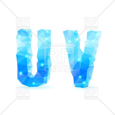 400x400 Crystal Style U And V Letters Royalty Free Vector Clip Art Image